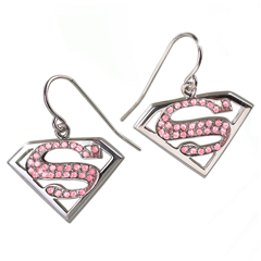 NN4024-Supergirl - Pink Crystal Earrings