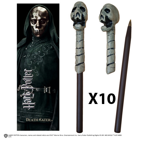 OFFRE_NOBLE-NN7953 - Death Eater (skull) Wand Pen & Bookmark x 10